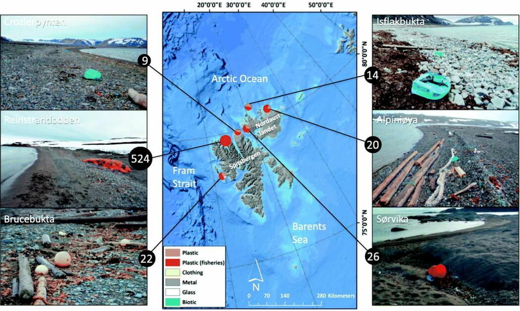 Folkeforskere fra cruiseskip har hjulpet tyske forskere med å kartlegge plast på seks strender på Svalbard. De dokumenterte også plastforsøplingen med bilder.