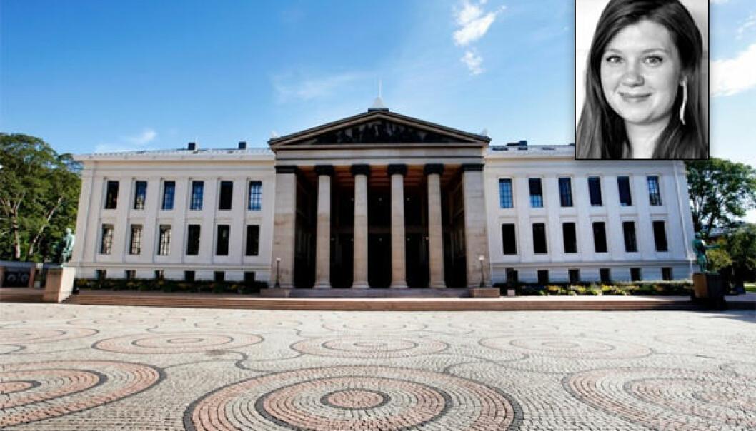 Stipendiat Sofie Høgestøl ved Universitetet i Oslo sier at vitenskapelige ansatte må bli mer bevisst på maktforholdet i sektoren og være flinkere til å si fra om hverandre. Hun har selv vært utsatt for maktmisbruk ved det juridiske fakultetet. (Foto: Lise Åserud, NTB scanpix, Universitetet i Oslo)