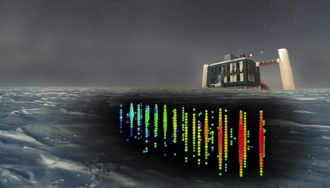 Bildet viser hvordan registreringen av en nøytrino ble målt under isen 'på Sørpolen i 2017. Sensorene ligger over en kilometer under isen. Bygningen er en del av observasjonskomplekset IceCube. (Bilde: IceCube Collaboration/NSF)