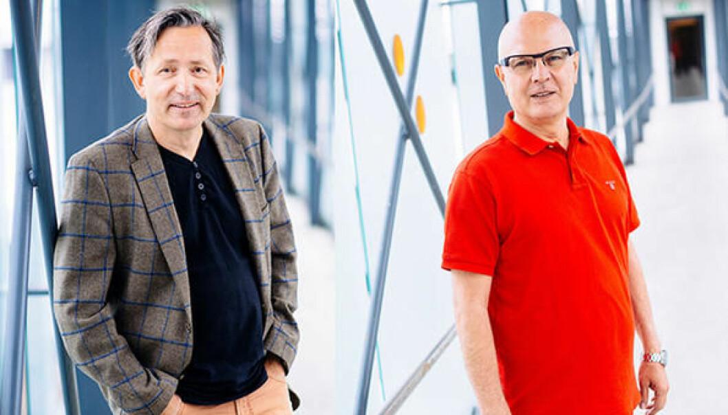 Professor og statsvitar Oluf Langhelle (t.v.) og professor og teknolog Mohsen Assadi (t.h.) jobbar mot det same målet: Nullutsleppsamfunnet. (Foto: UiS)