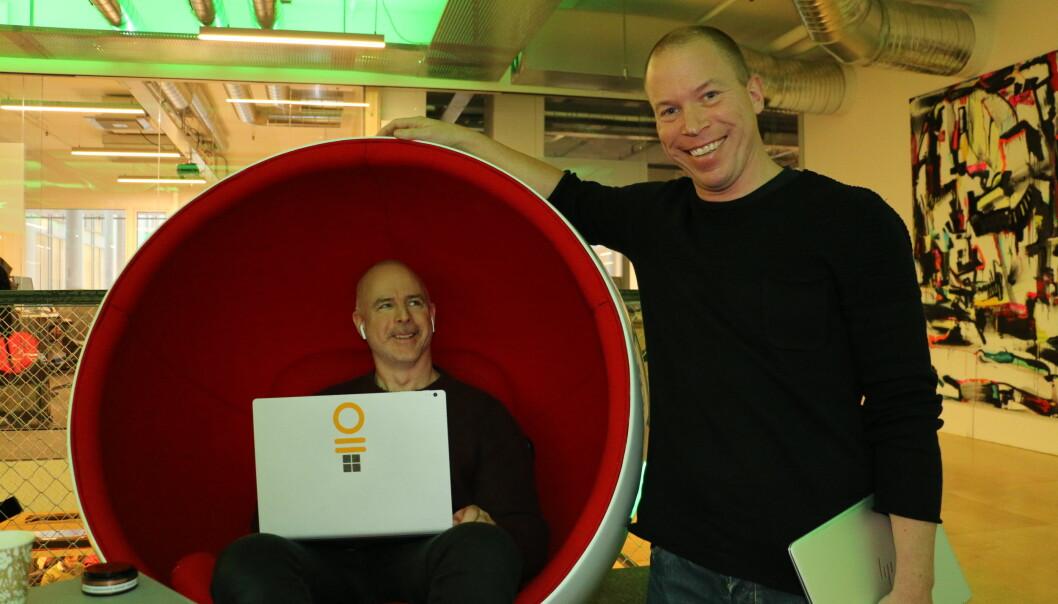 Marius Wergeland Storsten (t.v.) og Ivar Sagemo skal bygge et stort internasjonalt norsk selskap.  (Foto: Gunhild M. Haugnes)