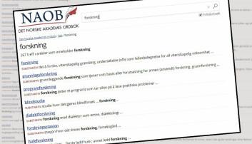 Mye lesestoff for forkningsinteresserte på NOAB, Det Norske Akademis ordbok. (Montasje: Eivind Torgersen, skjermdumper fra noab.no)