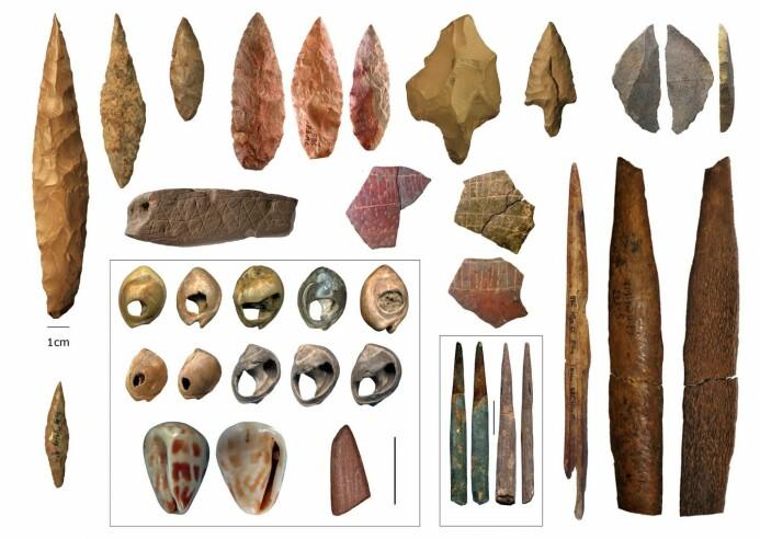 Gjenstander fra både det nordlige og det sørlige Afrika. (Illustrasjon: Eleanor Scerri/Francesco d'Errico/Christopher Henshilwood)