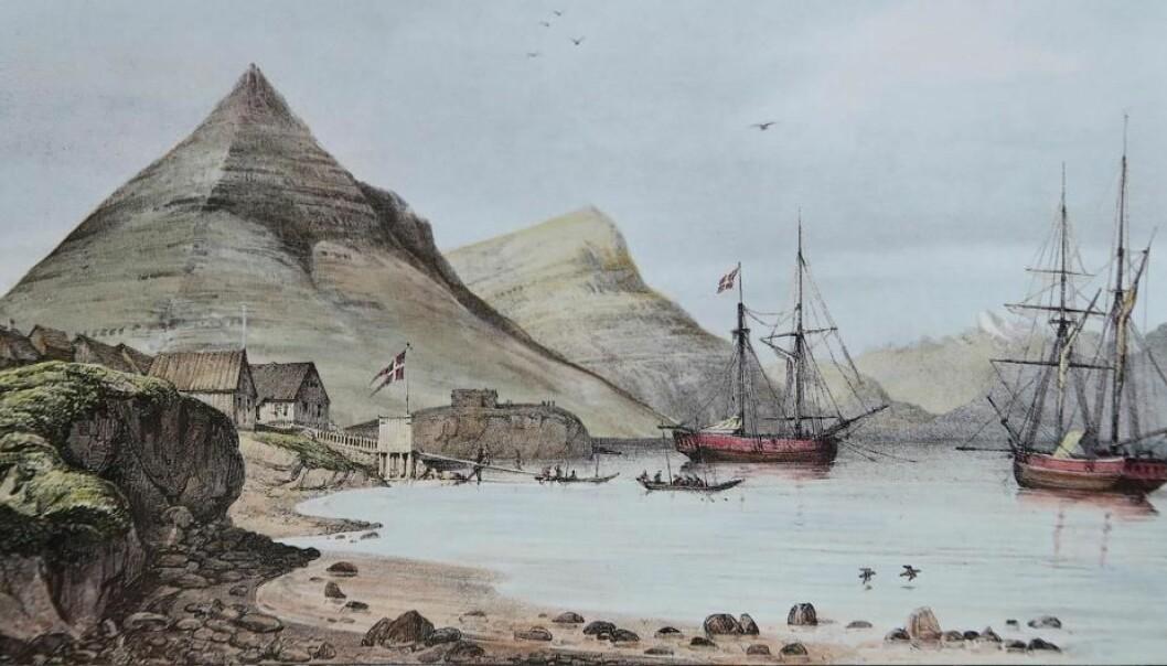 Havnen i Djupivogur på Island, der slaven Hans Jonathan flyktet til i 1802. Nå er 38 prosent av arvemassen hans gjenskapt.  (Illustrasjon: Auguste Mayer, 1836)