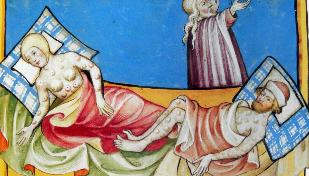 Den fryktede pesten i middelalderen tok livet av halvparten av Europas befolkning. Slik kan de syke ha sett ut, ifølge Toggenburg bibel fra 1411. (Illustrasjon: Toggenburg bibel)