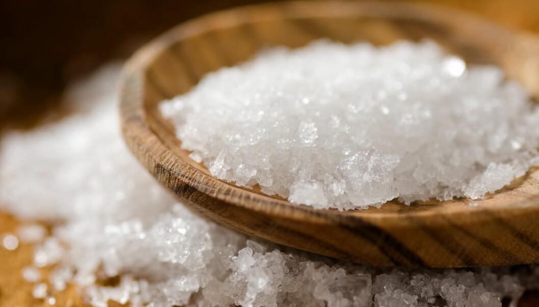 Fleur de sel-salt består av saltkrystaller fremstilt fra havvann.  Krystallene er sprø flak som kan knuses med fingrene og strøs over maten. (Foto: Foodio, Shutterstock, NTB scanpix)