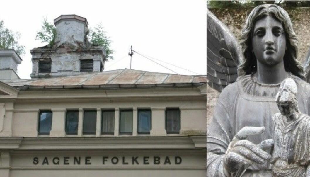 Her ser du korrosjon på pusset kalkfasade og metalltakplater i 2007 og på en sinkskulptur på Oslo universitetsområde, Blindern. (Foto: Terje Grøntoft / NILU)