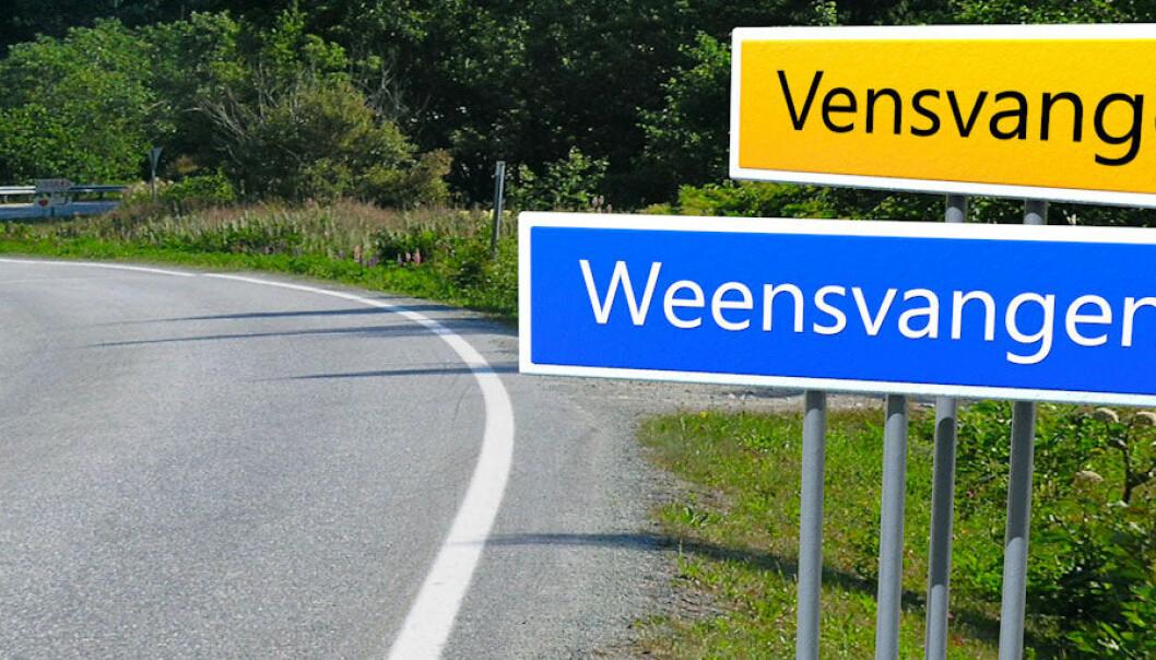 På Hedmarken står det både Vensvangen og Weensvangen på veiskilt. Her er de montert sammen.  (Foto: Henning Holter Christensen. Montasje: Per Byhring)
