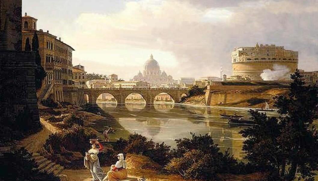 Utsikten fra bredden av Tiber og sørover mot Castel Sant' Angelo og Peterskirken, slik maleren Rudolf Wiegmann så den rundt 1834.