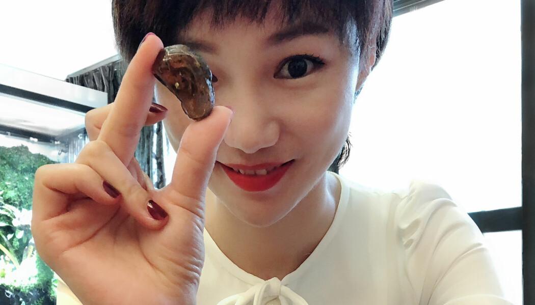 Ravklumpen er såpass liten. Slangen er ikke mer enn noen cm lang. Kvinnen på bildet donerte ravklumpen til forskningsprosjektet. (Bilde: Lida XING, China University of Geosciences Beijing (CUGB)