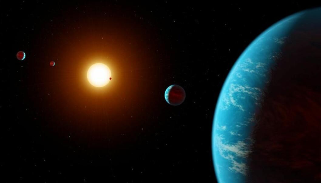 Vanlige folk – Citizen scientists – har sett på data fra et romteleskop og funnet nye planeter.  (Illustrasjon: NASA/JPL-Caltech/R. Hurt)