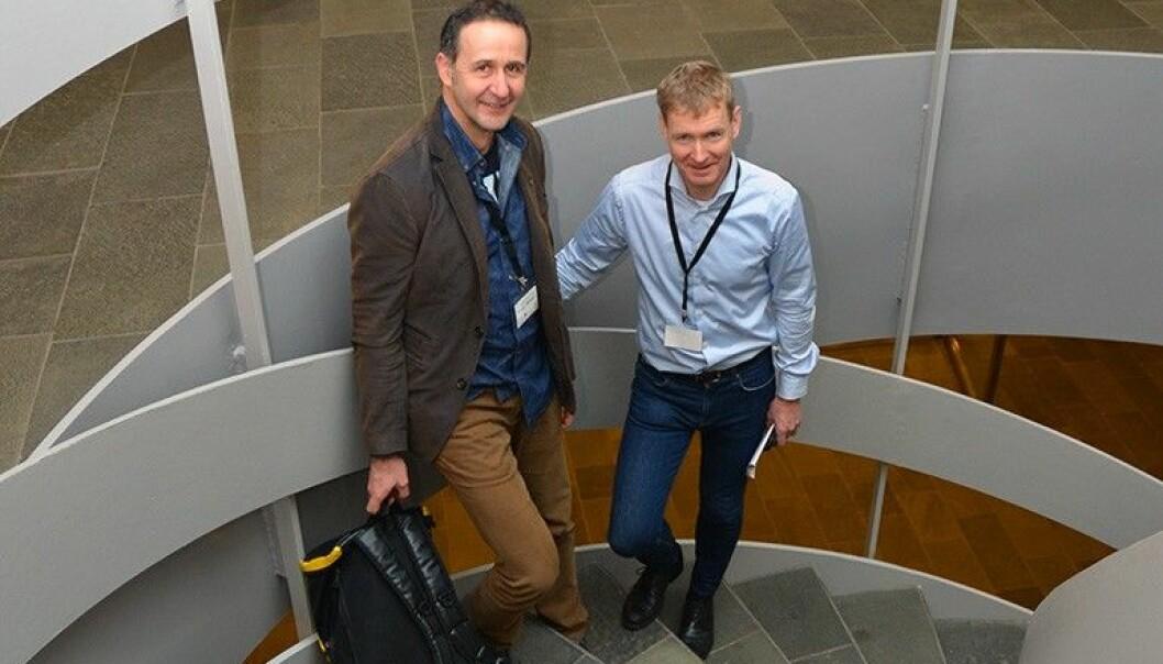 NGUs lagleder Reginald Hermanns og seksjonssjef Lars Harald Blikra i NVE, er fjellskredeksperter. (Foto: NGU)