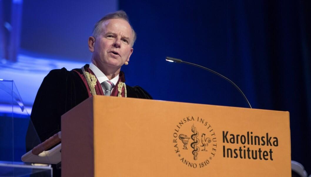 Ole Petter Ottersen er tidligere rektor ved Universitetet iOslo. Nå er han rektor ved anerkjente Karolinska Institutet i Sverige. Bildet er fra innsettelsesseremonien i 2017. (Foto: Jessica Gow, TT, NTB Scanpix)