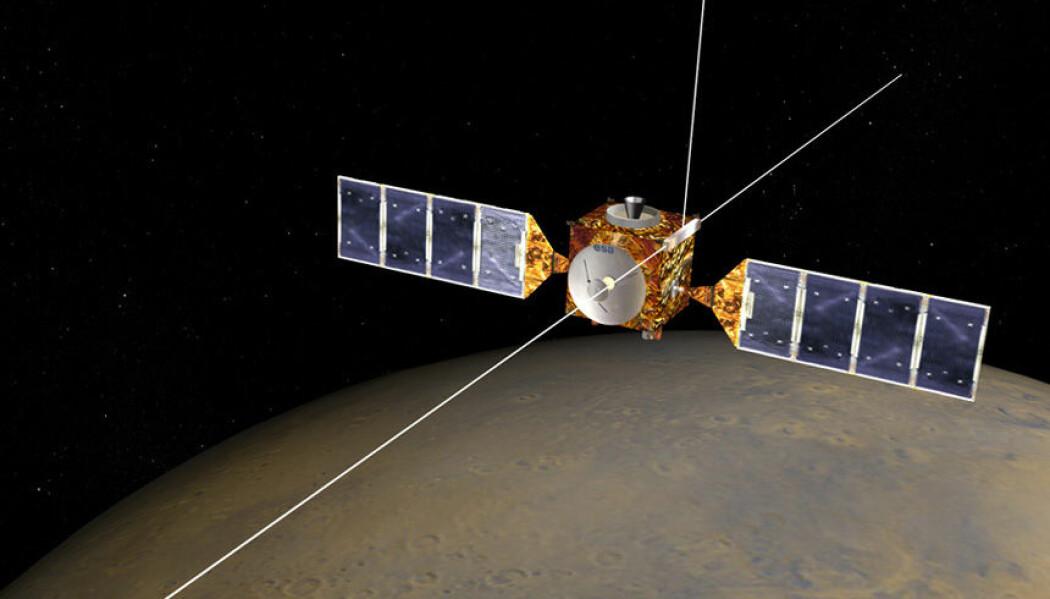 En illustrasjon av Mars Express. Antennene som stikker ut er en del av MARSIS-instrumentet. (Bilde: NASA/JPL/Corby Waste)