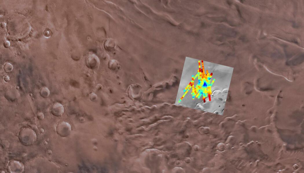 Radarskanningen av området nær Mars' sørpol som fant mulig flytende vann. (Bilde: SGS Astrogeology Science Center, Arizona State University, INAF)