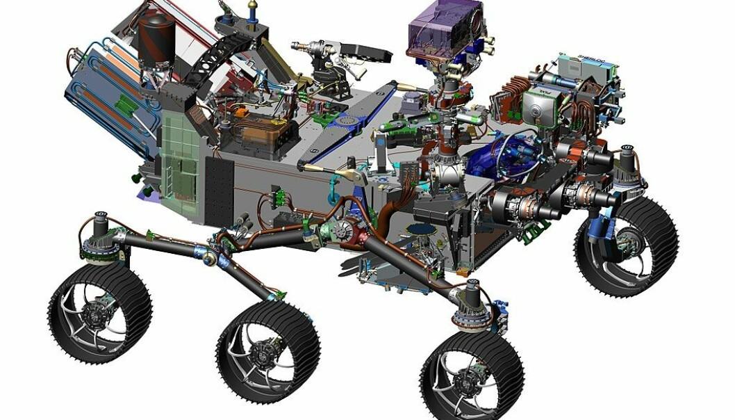 Teknisk tegning av Mars 2020-roveren. Den ligner mye på Curiosity, som har vært på Mars siden 2012, men har med seg helt nye instrumenter. (Bilde: NASA/JPL-Caltech)