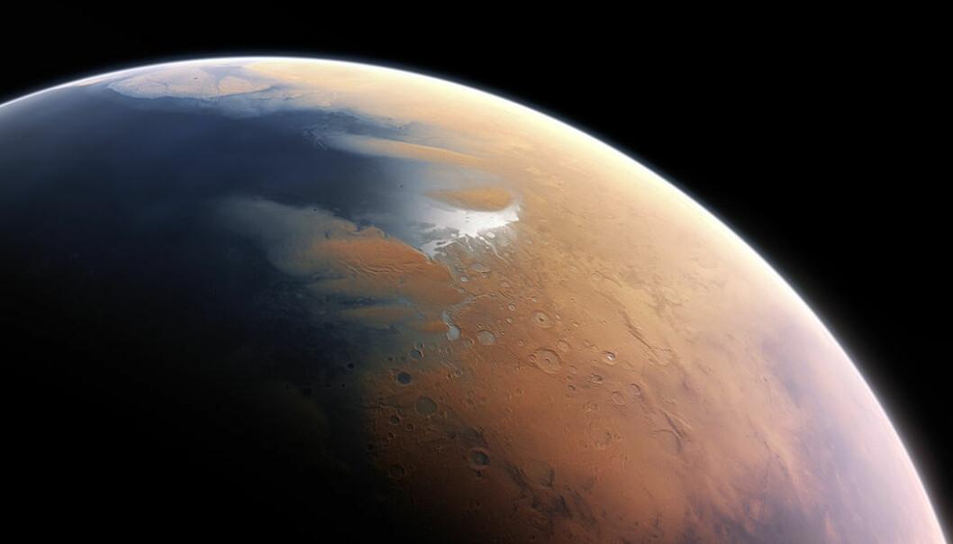 Slik ser en kunstner for seg at Mars kan ha sett ut for svært lenge siden, hele fire milliarder år siden. På denne tiden kan det ha vært mye flytende vann på planeten. Dette er nå borte eller fryst til is. (Bilde: ESO/M. Kornmesser/CC BY 4.0)