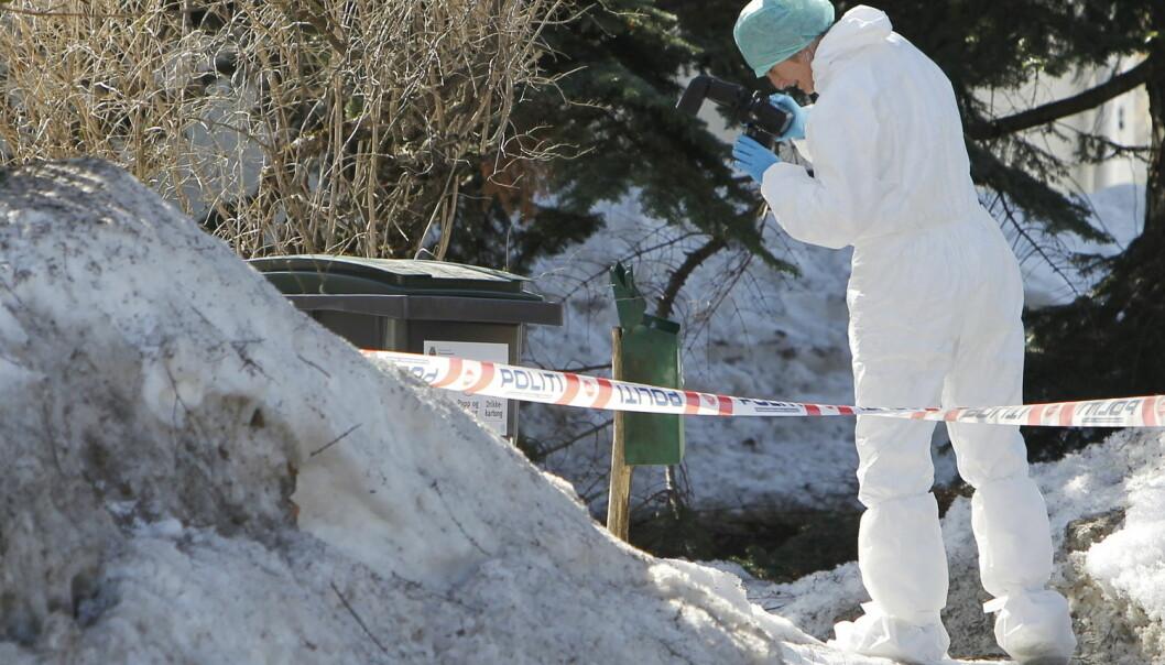 Kriminalteknikere har blitt de nye heltene gjennom TV-serier som CSI. Her utforsker norsk politi et åsted i 2011. Kan forbrytere lure dem gjennom å plukke opp triks fra krimserier om hvordan man skjuler spor? (Foto: Håkon Mosvold Larsen/NTB Scanpix)