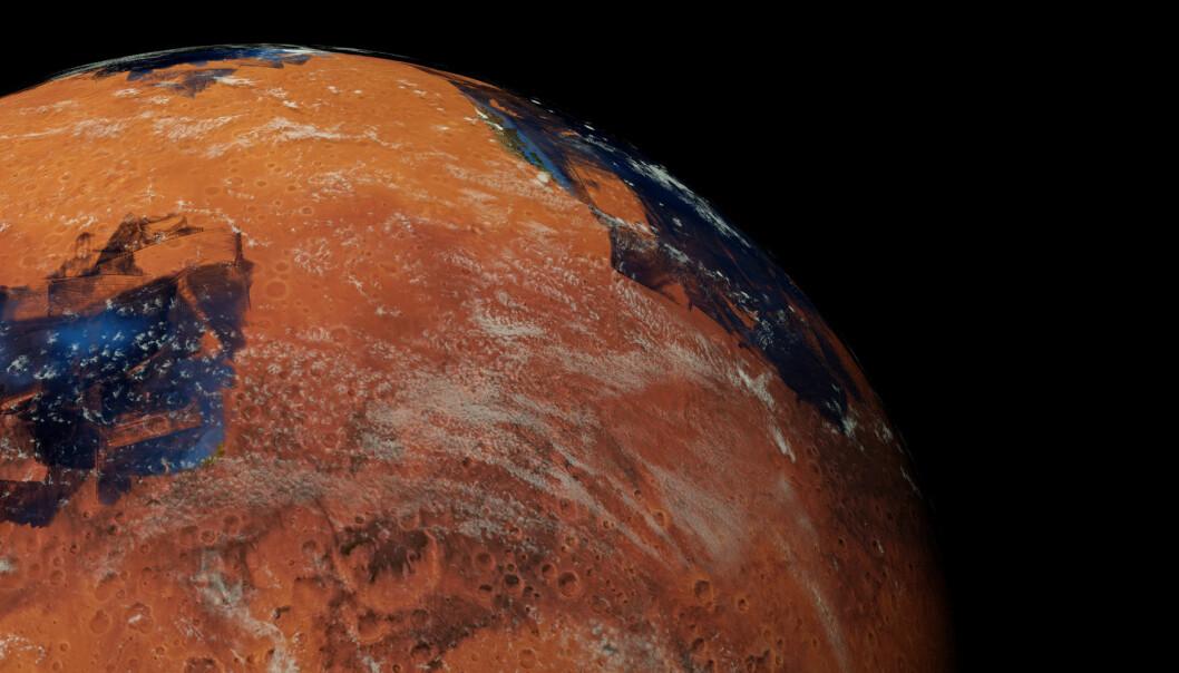 Ny atmosfære og skydekke på Mars? Trolig ikke mulig, ifølge forskere. (Illustrasjon: Shutterstock / NTB Scanpix)