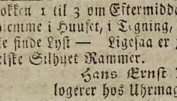 Avisanonse fra Hanse Ernst Kinck om salg av silhuettrammer. (Fra Nasjonalbibiloteket)