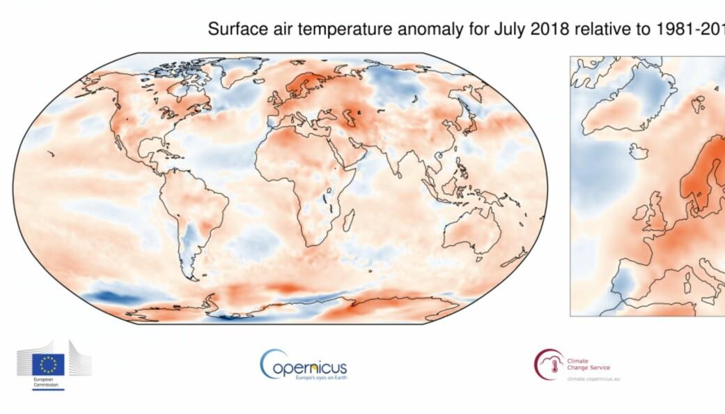 Figur: Temperaturavviket for juli 2018 (Bilde: Copernicus/ECMWF)