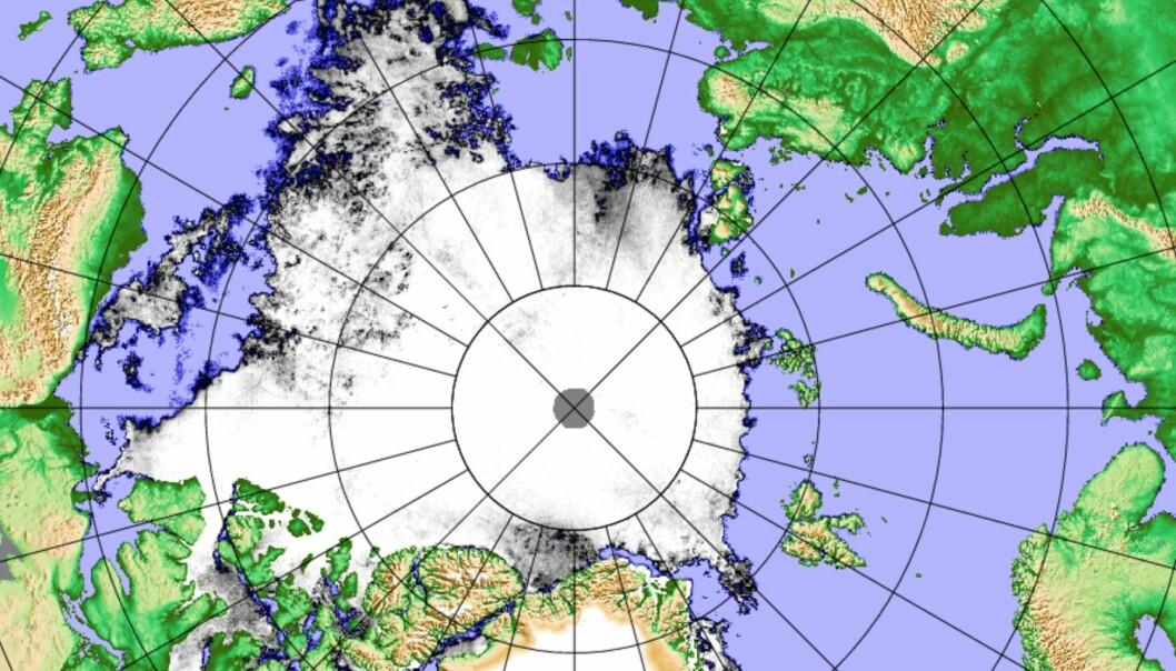 Iskart 6 august, basert på satellittmålinger. (Bilde: PolarView/Univ Bremen)