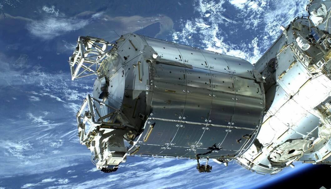 Columbus er den europeiske laboratoriemodulen på den internasjonale romstasjonen. Her kan forskere få gjennomført ulike eksperimenter. (Foto: ESA/NASA)