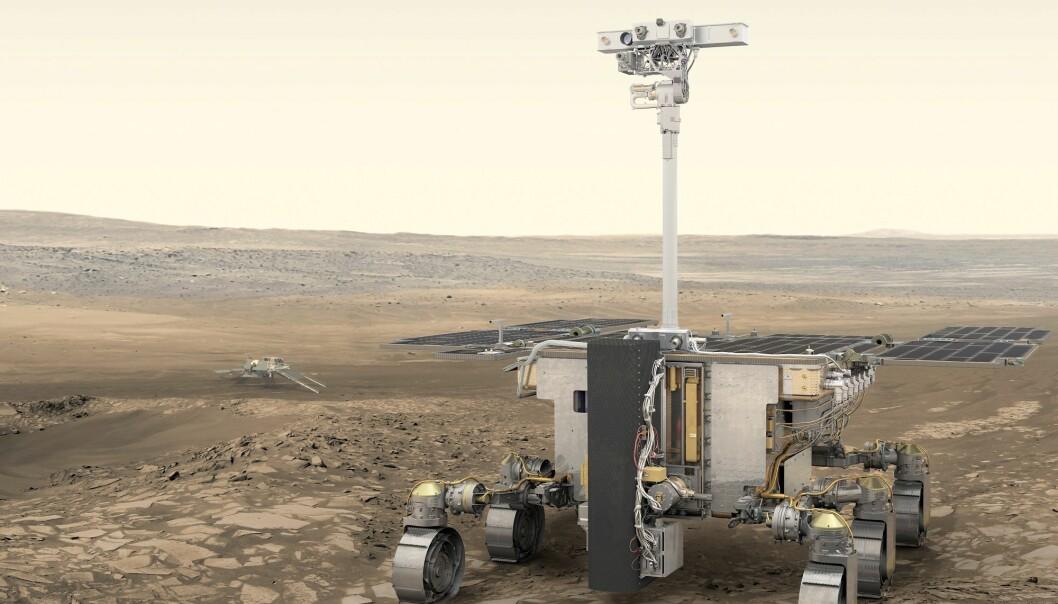 Den nye roveren lander på Mars i 2021. Der skal den blant annet lete etter lommer av is eller flytende vann. (Illustrasjon: ESA / ATG medialab)