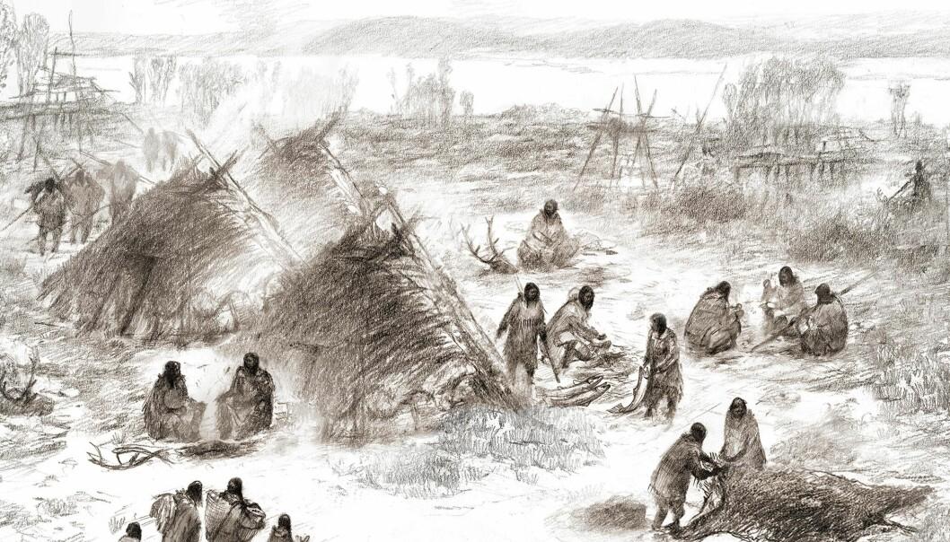 Slik kan det ha sett ut i Alaska for 12 000 år siden, ifølge en illustratør og forskerne.  (bilde: Eric S. Carlson in collaboration with Ben Potter)