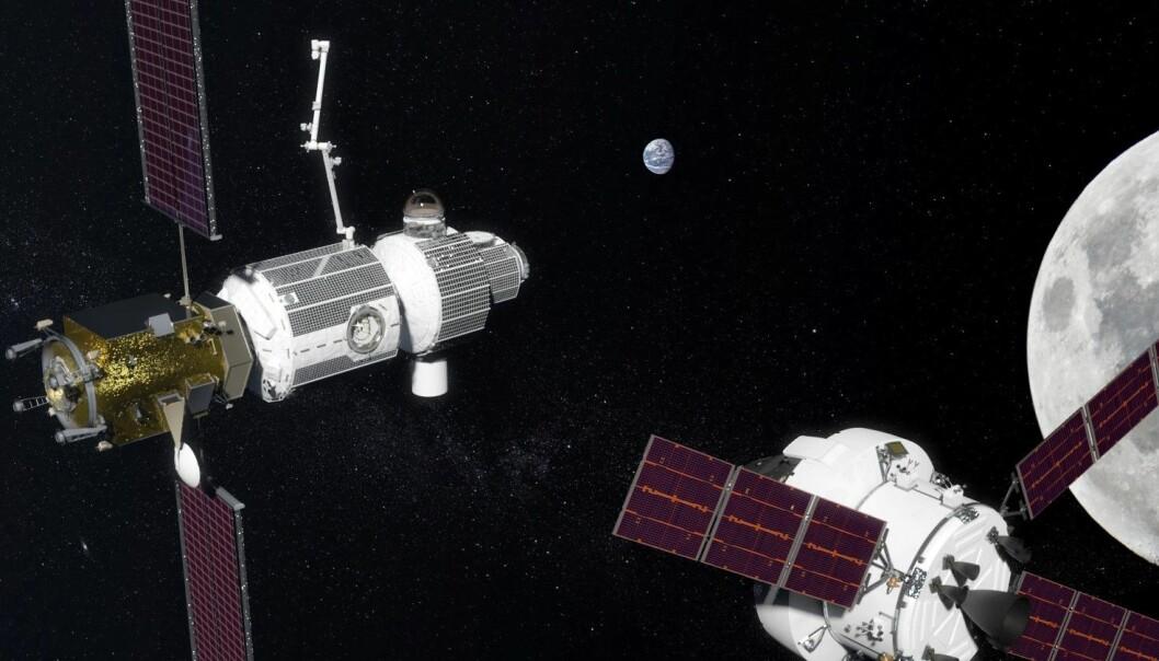 Russland og USA skal etter planen samarbeide om transport til og fra en romstasjon i bane rundt Månen. Nederst til høyre sees en amerikansk Orion-kapsel i ferd med å koble seg til romstasjonen Deep Space Gateway. Russiske romskip kan så frakte astronauter fra romstasjonen ned til Månens overflate og tilbake. Til høyre skimtes Månen, og i bakgrunnen Jorda. (Illustrasjon: NASA)