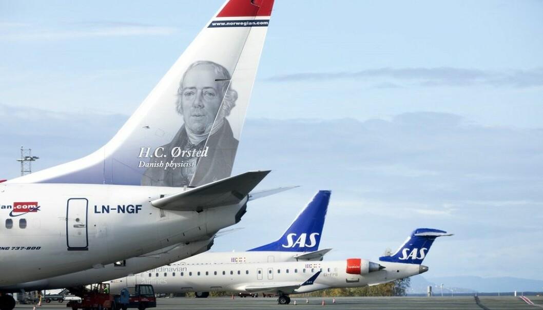 SAS og Norwegian på Værnes lufthavn. (Illustrasjonsfoto: Gorm Kallestad, NTB scanpix)
