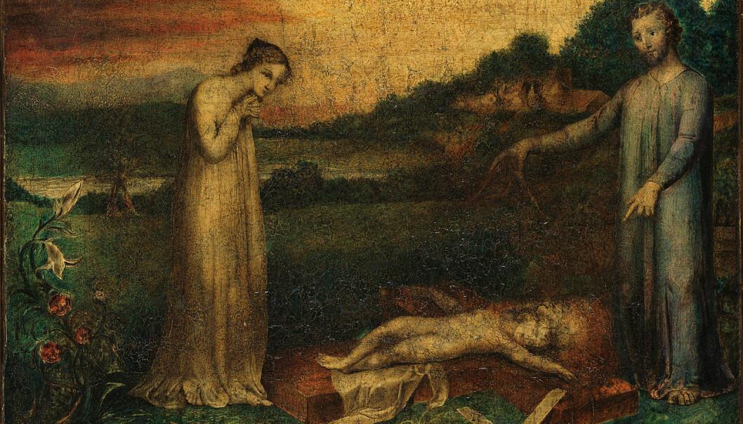 Bibelen sier lite om hvordan Jesus var som barn. Men det finnes en fortelling fra det andre århundret som forteller om nettopp dette. Bildet viser Jesus som sover på et kors, malt av William Blake rundt 1800. (Foto: William Blake Archive / Wikimedia commons)