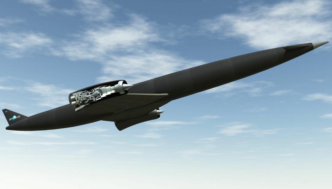 Romflyet Skylon skal klare å fly fra en rullebane helt opp i bane rundt jorda med 24 passasjerer, takket være den kombinerte jet- og rakettmotoren Sabre, gjennomskåret på illustrasjonen. (Illustrasjon: Reaction Engines)