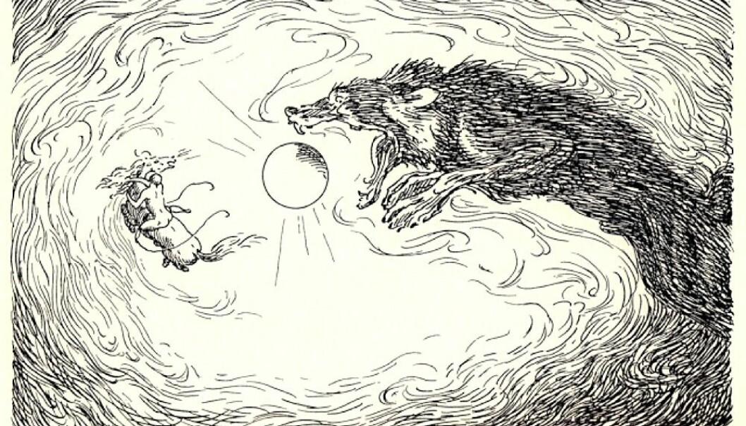 Fenrisulven sluker Sola. Klimakatastrofen som begynte året 536 var ganske sikkert den mest dramatiske nedkjølingen mennesker, dyr og planter har opplevd de siste to tusen årene. Antakelig inntraff to store vulkaneksplosjoner, som med noen års mellomrom sendte enorme mengder fint støv høyt opp i atmosfæren. Der ble støvet i flere år. Sola forsvant. I menneskenes fantasi og mytedannelser ble historien en annen.  (Tegning: Louis Moe)