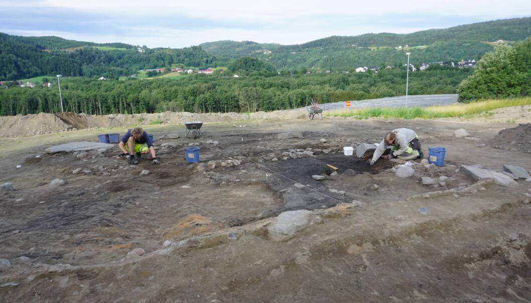 Arkeologer i arbeid på hustufta i Melhus. Kjell A. Brevik(t.v.) og Kari Berg Dyrendal. (Foto: Kristoffer R. Rantala, NTNU Vitenskapsmuseet)