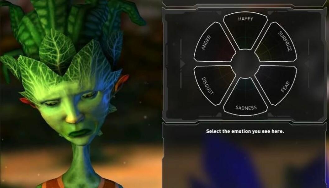 I dataspillet skulle testpersonene blant annet angi hvilke følelser romvesenene viste. [Foto: Center for Healthy Minds/University of Wisconsin-Madison]