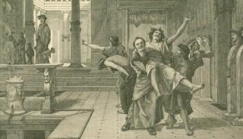 Io Saturnalia! Den over 2000 år gamle, romerske festivalen Saturnalia ligner på mange måter vår egen julefeiring. Romerne ga hverandre Saturnalia-gaver som ligner veldig på dagens julegaver og de koste seg med god mat og godt drikke. (Illustrasjon: John Reinhard Weguelin (1884), Wikimedia Commons)
