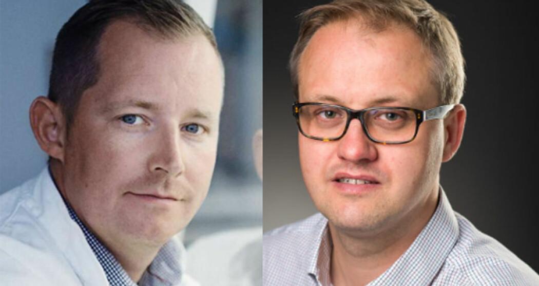 Martin R. Jakobsen fra Aarhus Universitet og Espen Melum fra Universitetet i Oslo får Anders Jahres medisinske pris til unge forskere. (Foto: Øystein H. Horgmo/UiO, Martin Gravgaard)