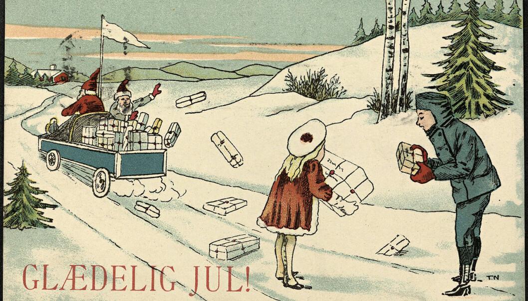 Vi ønsker hverandre god jul, men hvor kommer egentlig ordet fra? Her får du åtte jule-opplysninger fra forskerne ved Universitetet i Oslo. Bildet viser et julekort fra rundt 1900.  (Foto: Nationalbiblioteket)
