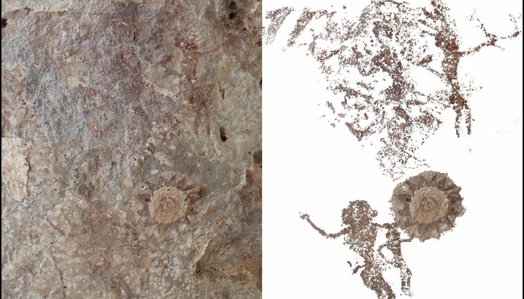 Flere tusen år gamle bilder av mennesker på huleveggen. (Foto: ANU)