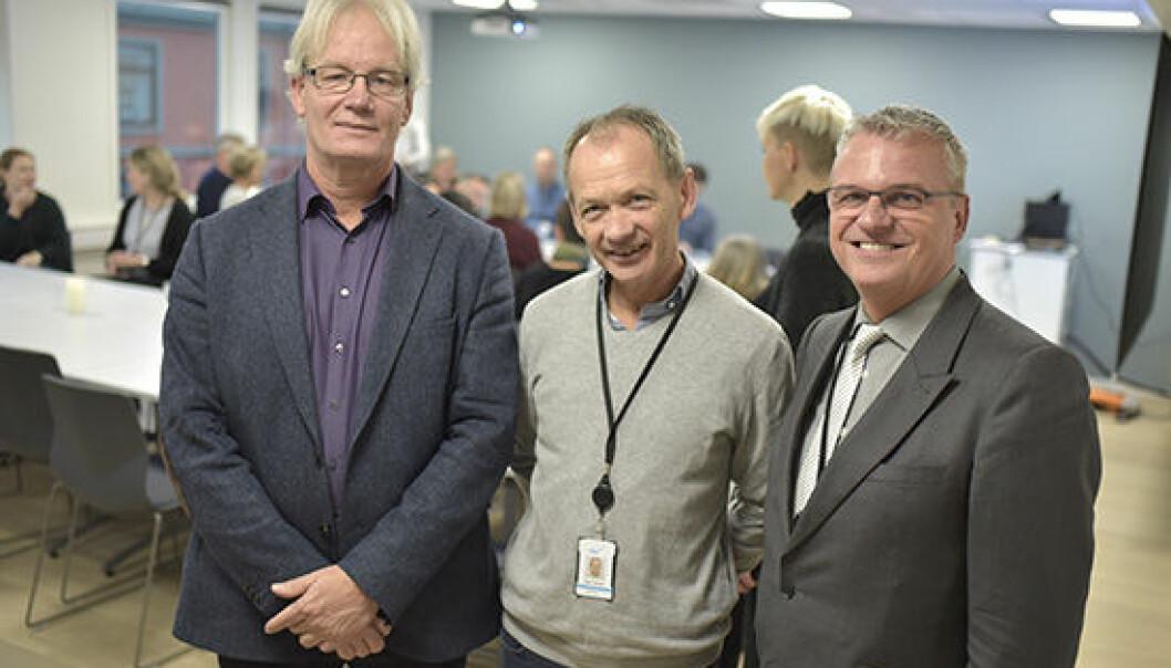 Her er de tre lederne av virksomhetene som skal slås sammen etter årsskiftet. Fra venstre: Jon Lanestedt (Norgesuniversitetet), Geir Strøm (PKU) og Harald Nybølet (SIU). (Foto: SIU)
