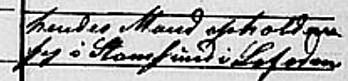 Anmerkninga i folketellinga fra 1865 som forteller at Ane Mathea Andersdatters mann er i Stamsund. (Foto: Beskåret skjermdump fra Digitalarkivet.=