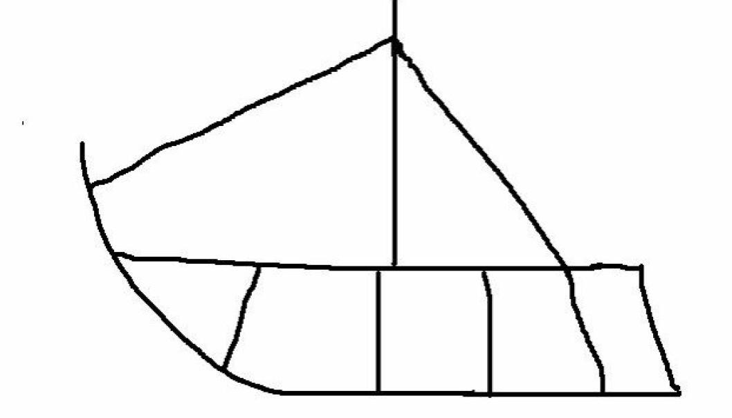 Gjengivelse av båtfigur finnes på flere gievrieh, runebommer. Denne er basert på Folldalstromma/ Frøyningsfjelltromma. (Figur: Håkon Hermanstrand)