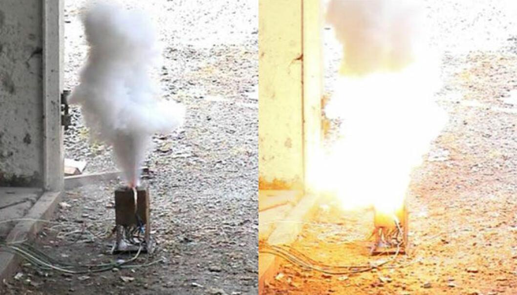 Bildene viser et Li-ionbatteri under et overopphetingsforsøk ved FFI. Ved en gitt temperatur slipper batteriet ut elektrolytten (venstre bilde) som tar fyr (høyre bilde). (Foto: FFI)