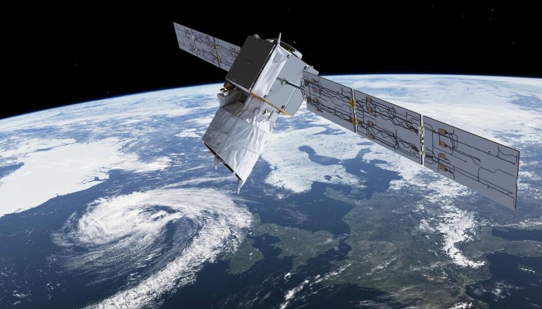 Den europeiske forskningssatellitten Aeolus skal måle jordas vinder. (Illustrasjon: ESA/ATG medialab)
