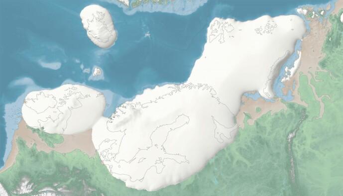 Den siste istiden startet for alvor 35 000 år tilbake. På bildet ser du hvordan isen dekket Nord-Europa for 23 000 år siden, da utbredelsen var aller størst. Gjennomsnittstemperaturen var da rundt 10 grader kaldere enn i dag og havet sto 120 meter lavere. Bildet er fra det interaktive kartet der du selv kan følge utviklingen under istiden.