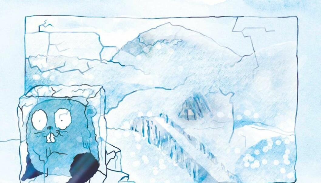 Det er figuren Lenny Lemen som forteller nysgjerrige barn i alle aldre om hvordan istiden påvirket Norge og Nord-Europa. Lenny reiser gjennom istiden og rapporterer hele veien om hva som skjer. Lemenet var et av få dyr som overlevde istiden her hos oss. (Bilde fra icemap.no)