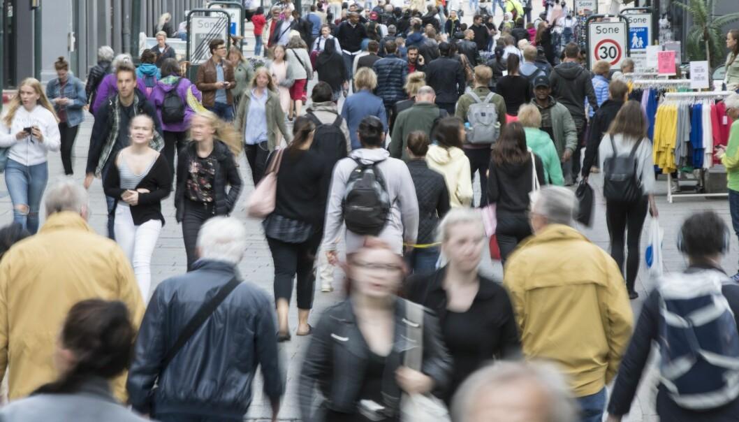 Folksomt i Karl Johans gate i Oslo, men befolkningsveksten i Norge er lavere enn på lenge. (Illustrasjonsfoto: Vidar Ruud / NTB scanpix)