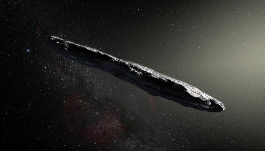 Oumuamua, som er et hawaiisk navn og betyr speider, er den første asteroiden av dette slaget som er oppdaget i vårt «nabolag» i verdensrommet. (Illustrasjon: ESO, M. Kornmesser)