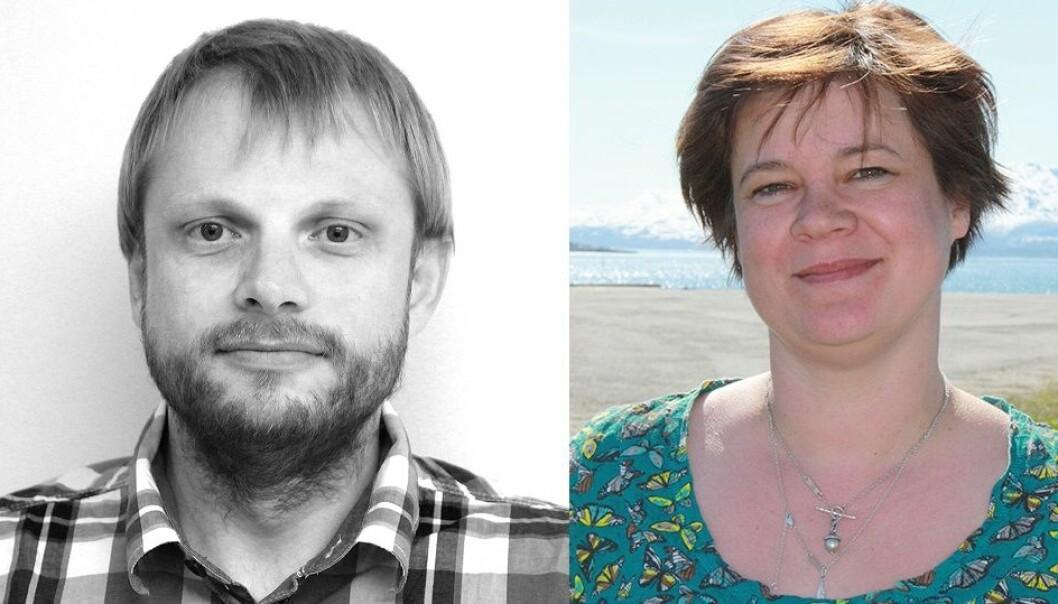 Marius Warg Næss ved NIKU får Framsenterets forskningspris og Dorte Herzke får Framsenterets formidlingspris. (Foto: NIKU og NILU)